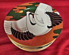 "8 Golden Tancho Stork Fitz & Floyd Salad Plates Bird Collector 7.5"" - Mint"