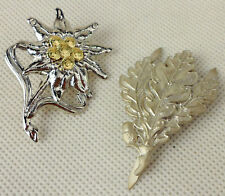 PAIR OF WWII GERMAN ARMY METAL EDELWEISS LEAVES CAP BADGE PIN UNIFORM INSIGNIA