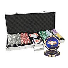 500pcs 14g LAS VEGAS LASER CASINO TABLE CLAY POKER CHIPS SET ALUMINUM CASE