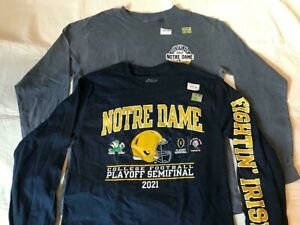 Set of 2 Notre Dame Fighting Irish Men's Long Sleeve T-Shirts Two Colors Size L