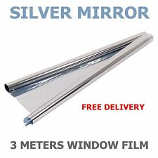 MIRROR SILVER 20% SOLAR REFLECTIVE WINDOW FILM ONE WAY PRIVACY TINT 75cm x 3m