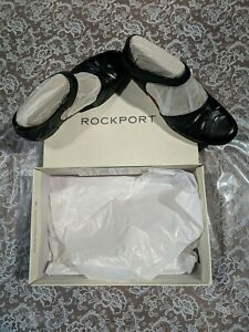 Rockport Women's 8 1/2 M Abbott 2-Part Black Leather Heeled Shoes New in Box