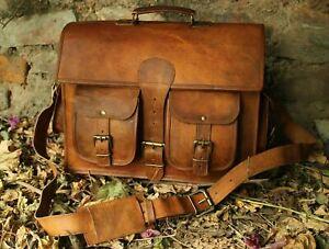 Vintage Shoulder Bag Leather Satchel School Military Messenger Bag for Men Women