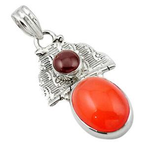 Natural Orange Cornelian (carnelian) Red Garnet 925 Silver Pendant D13160
