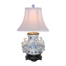 """Blue and White Porcelain Vase Boy and Girl Table Lamp 20"""""""