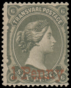 TRANSVAAL 1879 1p on 6p SLATE RED SURCHARGE MINT #110 o.g. MHR $425.00 Gibbons #