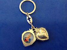 Rare TWIN HEARTS Key Chain Key Ring Jesus Sacred Heart Immaculate Heart of Mary
