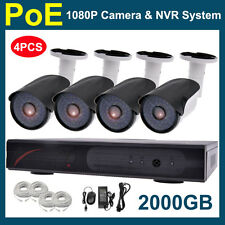 Anber 4PCS 1080P 2MP CCTV PoE IP Network Camera 4CH HDMI NVR SYSTEM FREE 2TB HDD