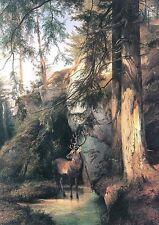 Gauermann Hirsch Felsen Landschaft Büttenfaksimile 5