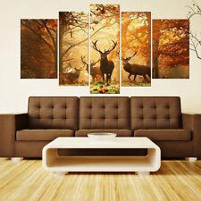 Modern Canvas Prints Abstract Oil Paintings Wall Art Forset Deer Decor Unframed
