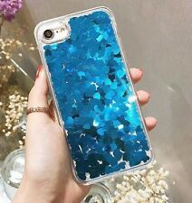 Clear Floating Hearts Liquid Waterfall Bling Glitter Case For iPhone Models FAST