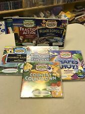 6 CD-ROM Game Lot Harcourt Mega Math with Math Center Fraction Action & More