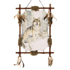 "22""x16"" Wolf Pack Wolves Snow Dream Catcher Wall Hang Decor Feathers Wood Frame"