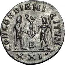 DIOCLETIAN 286AD Silvered  Authentic Ancient Roman Coin JUPITER ZEUS i65111