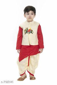 Latest Trendy Boys Embroidered Kurta Sets With Dhoti Pants Freeshipping