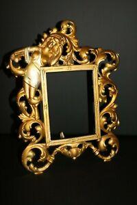 Antique Art Deco Nouveau Period Painted Cast Iron Semi Nude Picture Frame