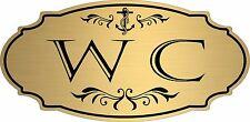 "Gold ""WC"" Water Closet nautical boat door sign - Free Shipping"
