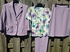 Alfred Dunner 4 Pc Suit Jacket Pant Skirt Shirt Purple Floral Beautiful 14/16