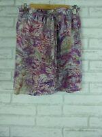 WITCHERY Skirt Sz S, 10 Purple, Grey swirl print 100% silk