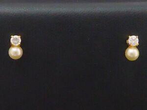 Ohrringe 750 GOLD 18 Karat Gelbgold Zirkonia Perle pearl earrings Ohrstecker