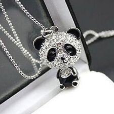 Women Panda Cute Silver Pendant Necklace Long Sweater Chain Jewelry Gift