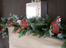 Luxury 1.8m Thick Frosted Christmas Garland Swag Red Toadstools bows Apples 6ft