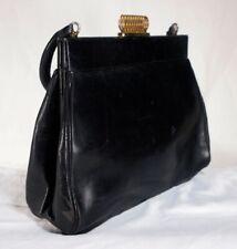 KORET BAG VINTAGE BLACK LEATHER PURSE  Gold Swirl Clasp