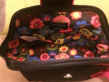 CYNTHIA ROWLEY BLACK GROSGRAIN MAKE-UP BAG WITH BIG PINK BOW FLOWER PRINT LINING