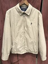 POLO Ralph Lauren Lined Bomber Jacket Men's Size M Full Zip Lightweight Beige