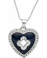 Marie Claire Black Enamel Heart Pendant with Swarovski Crystals