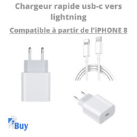 Chargeur rapide iPhone 18w USB-C vers lightning compatible iPhone 8 au 12Pro Max