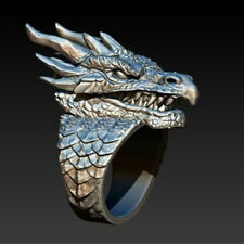 Fashion Punk Rings 925 Silver Filled Men Jewelry Party Gifts Ring Dragon Size 13
