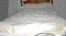 Antique Victorian c1800s White Embroidered Linen & Beige Crochet Bedspread 96x80