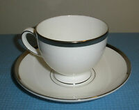 Wedgwood Carlyn Cup & Saucer Leigh Shape Footed Bone China White Platinum  EUC