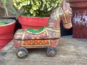 Antique Wooden Old Hand Crafted Horse On Wheels Rare Painted Horse Box Figurine
