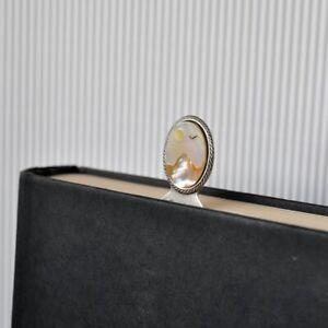 Lesezeichen Metall *bookmark Perlmutt Cabochon *MoP Motiv Landschaft Berg Sonne