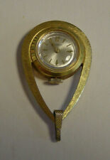 Vintage Amchron Swiss Made Womens Necklace Pendant Watch Gold Tone Retro MCM Old
