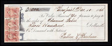 Scott #R24C (3) Certificate 5¢ Red Used On $300.00 Promissory Note 1866