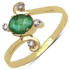 Bague Or jaune 10 K Emeraude et Diamants