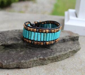"Turquoise Cuff Style beaded Black Leather Bracelet Men's unisex Bracelet 1"" wide"