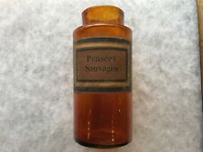 Pensees Sauvages Vintage France Amber Glass Pharmacy Bottle