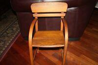 Antique Vintage Teak Childrens Chair Bent Solid Wood MCM Child Chair