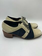Vintage 1960s 1970s Men's Two Tone Saddle Shoes w/ Heels Navy Blue Ivory 11?