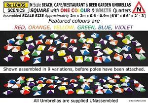 Square UMBRELLAS Beach Cafe Restaurant Beer Garden, N Scale Gauge Model Railway