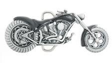 Chopper Motorcycle Black Enamel Metal Belt Buckle
