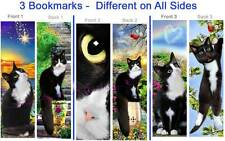 3-TUXEDO CAT Kitten BOOKMARK ART Black White Animal Set Book Mark Card Figurine