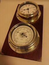 Metamec mahogany and brass effect clock and barometer mid century vintage