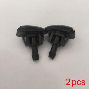 2Pcs Black Plastic Auto Window Windshield Washer Spray Sprayer Nozzle Auto Parts