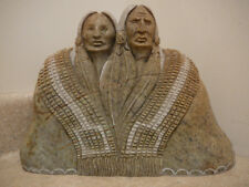 VINTAGE NATIVE AMERICAN INDIAN IROQUOIS STONE CARVING SCULPTURE 2 PEOPLE AZBIK
