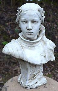 "Jeanne d'Arc Joan of Arc female bust stone ornament 41cm/16"" H antiqued"